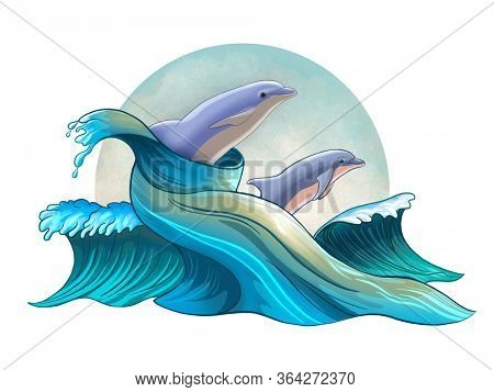 Some dolphins jumping between stylized waves. Digital illustration.