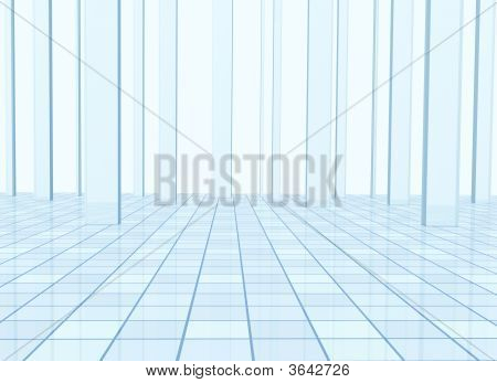 Abstract blue background with columns and a tiled floor poster