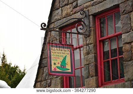 Osaka, Jp - April 7 - Harry Potter Theme Gladrags Wizard Wear Store Sign At Universal Studios Japan