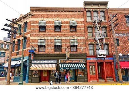 Osaka, Jp - April 7 - New York Theme Various Neighboring Building Facade At Universal Studios Japan