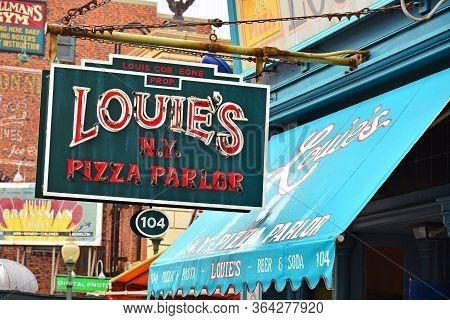 Osaka, Jp - April 7 - Louie Pizza Parlor Sign At Universal Studios Japan On April 7, 2017 In Osaka,