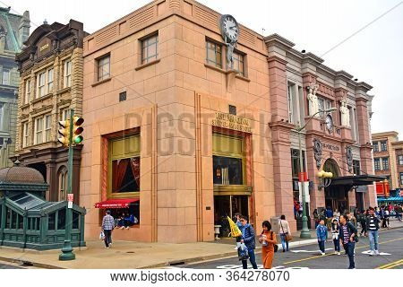 Osaka, Jp - April 7 - New York Theme Spider Man Store Building Facade At Universal Studios Japan On