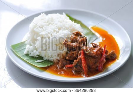 Stir Fried Pork Or Stir Fried Beef With Chili Paste And Rice, Thai Food