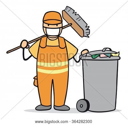Cartoon garbage man with face mask at garbage collection of city cleaning