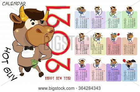 Calendar Or Planner 2021 Kawaii Cartoon Ox.vector Graphics. Calendar Or Planner 2021 Kawaii Cartoon