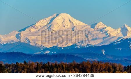 Sunset Over Mount Baker, A Dormant Volcano In Washington State. Viewed Glen Valley Near Abbotsford B