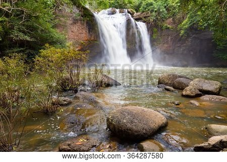 Haew Suwat Waterfall In Khao Yai National Park, Thailand