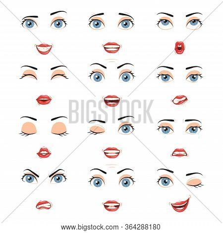 Expressions Of Female Lips And Eyes, Emotions Of Female Eyes And Lips