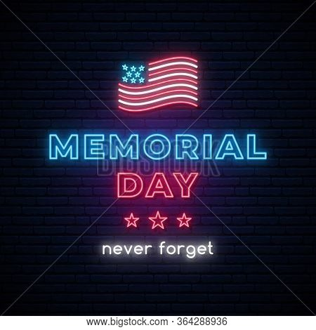 Happy Memorial Day Vector Banner. Neon Memorial Day Sign. American Flag In Modern Neon Style. Vector