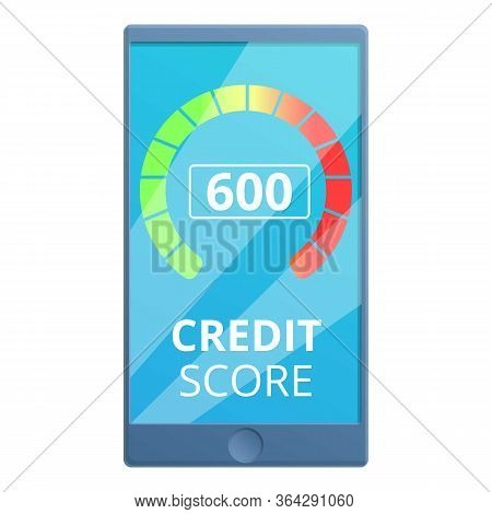 Mobile Credit Score Icon. Cartoon Of Mobile Credit Score Vector Icon For Web Design Isolated On Whit