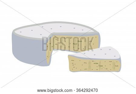 Blue Cheese With Mold. Blue Soft Cheese With A Rind And Blue Mold Set. Flat Vector Illustration