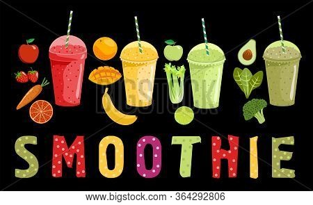 Smoothie And Fruits. Cartoon Smoothies On A Black Background. Orange, Strawberry, Berry, Banana And