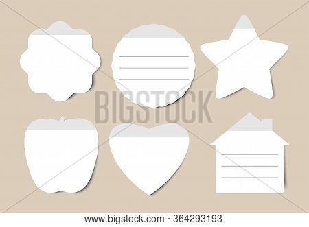 White Realistic Stickers. Sticker Isolate Set With Folded Edges, Blank Adhesive Rounded Tags Or Pric