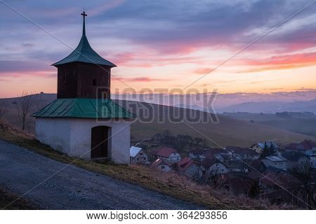 Historical Bell Tower In A Village Of Turiec Region, Slovakia.