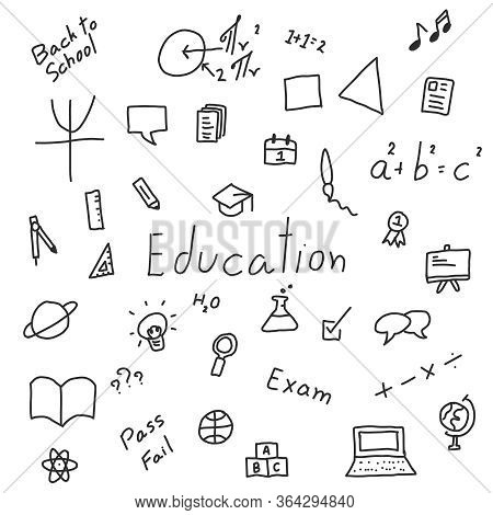 Black Doodle Handdrawing Icon In Education Concept On White Background