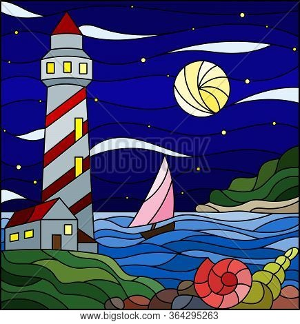 Illustration In Stained Glass Style With Seascape, Lighthouse And Sailboat On A Background Of Sea An
