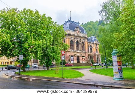 Karlovy Vary, Czech Republic, May 11, 2019: Kaiserbad Spa Imperial Bath Or Lazne I Building In Carls