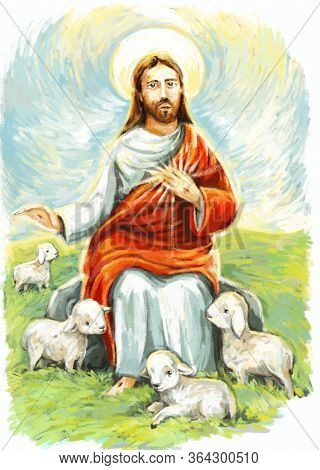 Calm Jesus Messiah And Resurrection With Nature Background - Illustration