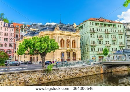 Karlovy Vary, Czech Republic, May 10, 2019: Municipal Theatre Neo-baroque Building At Theatre Square