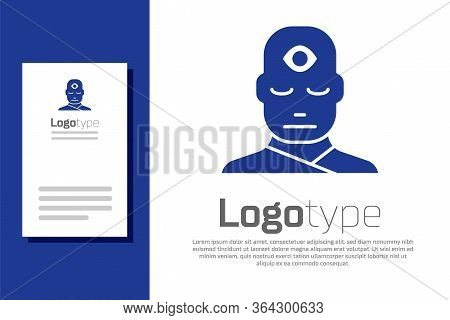 Blue Man With Third Eye Icon Isolated On White Background. The Concept Of Meditation, Vision Of Ener