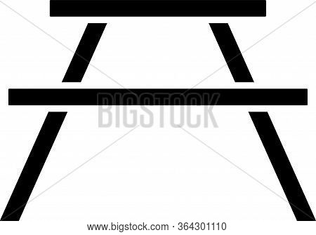 Black Picnic Table With Benches On Either Side Of The Table Icon Isolated On White Background. Vecto