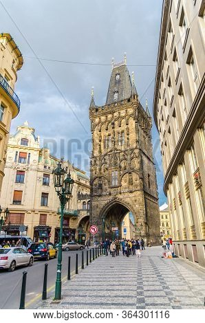 Prague, Czech Republic, May 13, 2019: Powder Tower Prasna Brana Gothic Tower Of The Old City Gates I