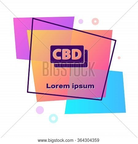 Purple Cannabis Molecule Icon Isolated On White Background. Cannabidiol Molecular Structures, Thc An