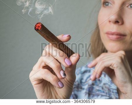 A Lady Dreams With A Cigar. Cuban Cigars Concept.