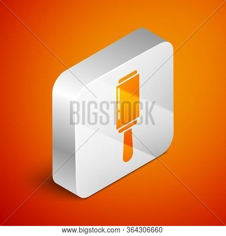 Isometric Adhesive Roller For Cleaning Clothes Icon Isolated On Orange Background. Getting Rid Of De
