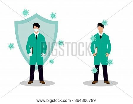 Two Doctors During A Viral Infection On An Isolated White Background. One In Gloves And A Mask Is Pr