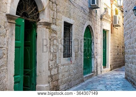 The Narrow Street Of The Authentic Old Town Of Kotor, Montenegro.
