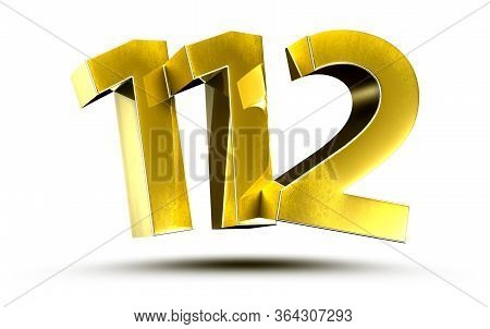 3d Illustration Numbers 112 Gold Isolated On A White Background.(with Clipping Path)