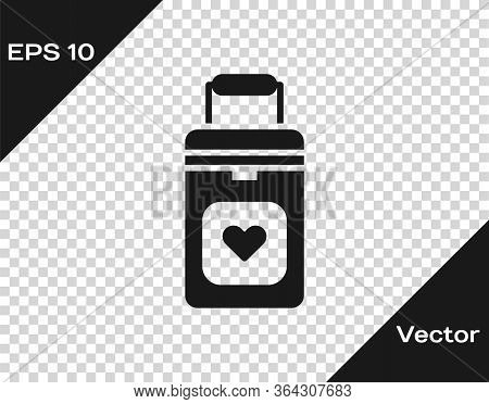 Black Cooler Box For Human Organs Transportation Icon Isolated On Transparent Background. Organ Tran