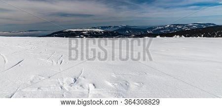 View From Vysoka Hole Hill In Jeseniky Mountains In Czech Republic During Beautiful Winter Day