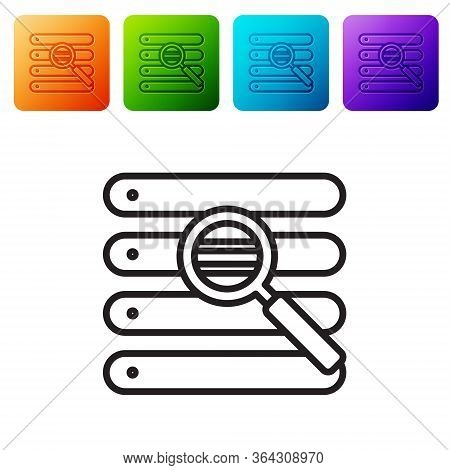 Black Line Search In A Browser Window Icon Isolated On White Background. Set Icons In Color Square B