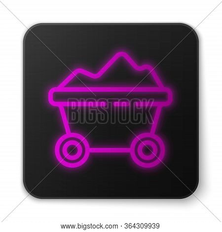 Glowing Neon Line Coal Mine Trolley Icon Isolated On White Background. Factory Coal Mine Trolley. Bl