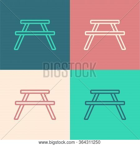 Pop Art Line Picnic Table With Benches On Either Side Of The Table Icon Isolated On Color Background