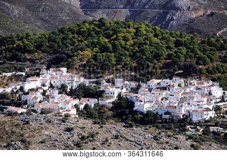 View Of The Town And Surrounding Countryside, Juzcar, Serrania De Ronda, Malaga Province, Andalucia,