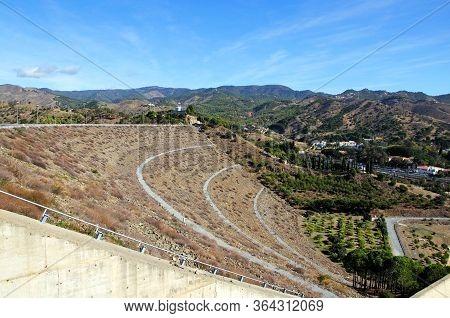 La Concepcion Reservoir (embalse Del Limonero) Dam Wall, Malaga, Costa Del Sol, Malaga Province, And