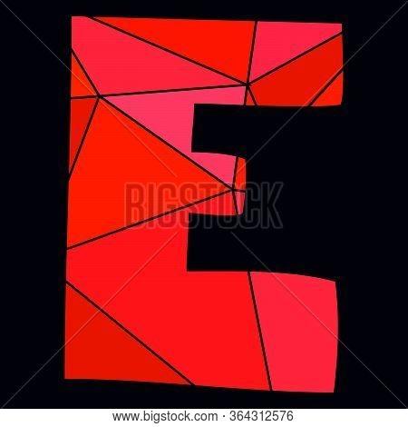 E Red Alphabet Vector Letter Isolated On Black Background