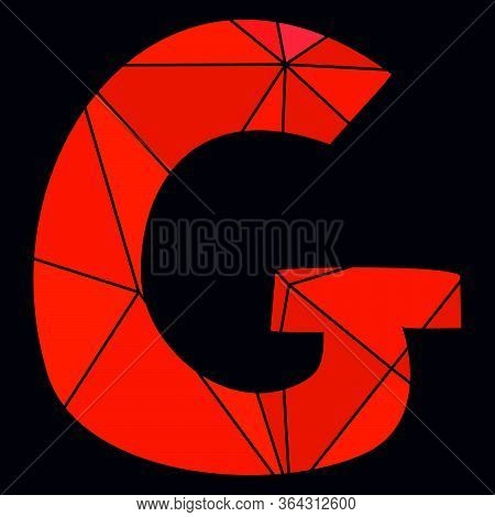 G Red Alphabet Vector Letter Isolated On Black Background