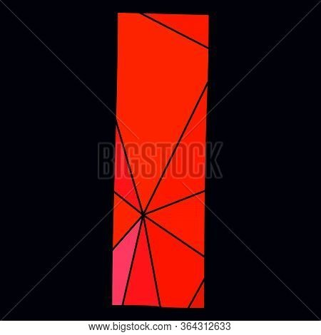 I Red Alphabet Vector Letter Isolated On Black Background