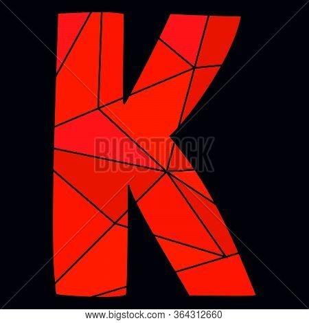 K Red Alphabet Vector Letter Isolated On Black Background