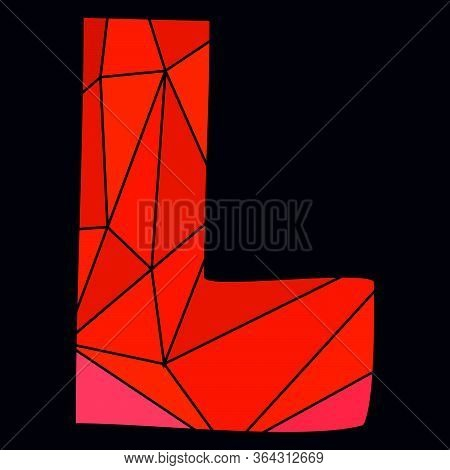L Red Alphabet Vector Letter Isolated On Black Background