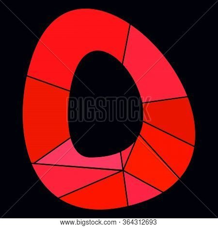 O Red Alphabet Vector Letter Isolated On Black Background