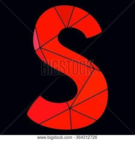 S Red Alphabet Vector Letter Isolated On Black Background
