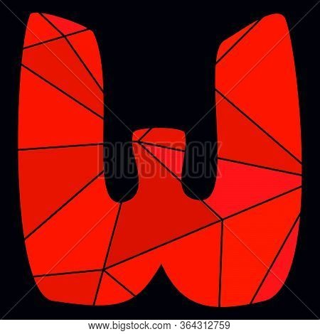 W Red Alphabet Vector Letter Isolated On Black Background