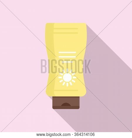 Sunscreen Bottle Icon. Flat Illustration Of Sunscreen Bottle Vector Icon For Web Design