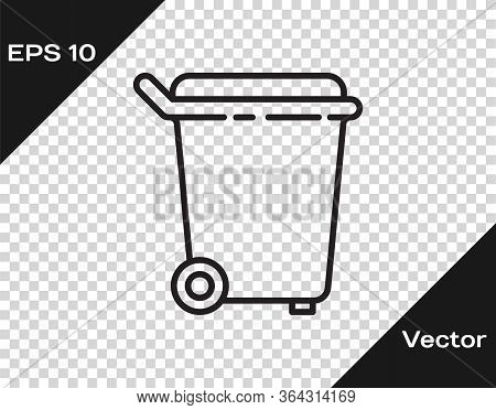 Black Line Trash Can Icon Isolated On Transparent Background. Garbage Bin Sign. Recycle Basket Icon.