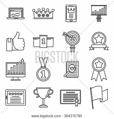 Success Excellence Icons Set. Outline Set Of Success Excellence Vector Icons For Web Design Isolated